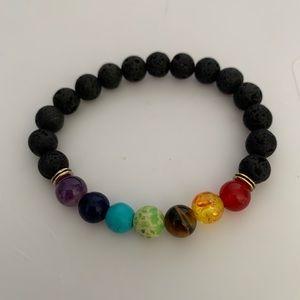 7 Chakra Beaded Lava Rock Rainbow Stretch Bracelet
